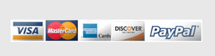 Visa MasterCard American Express Discover PayPal accepted